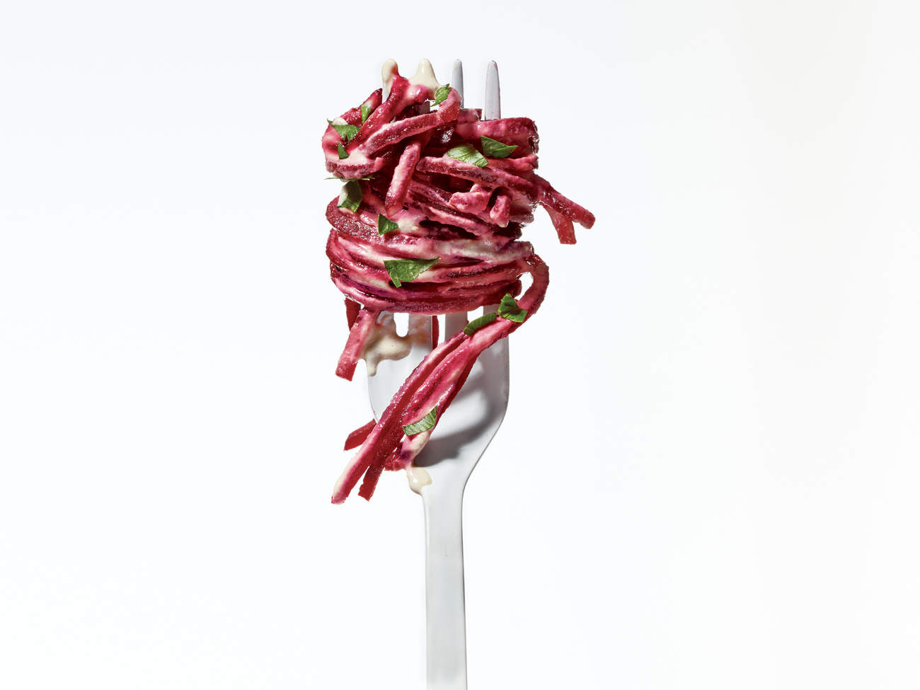 beet noodles detox deliciously on fork