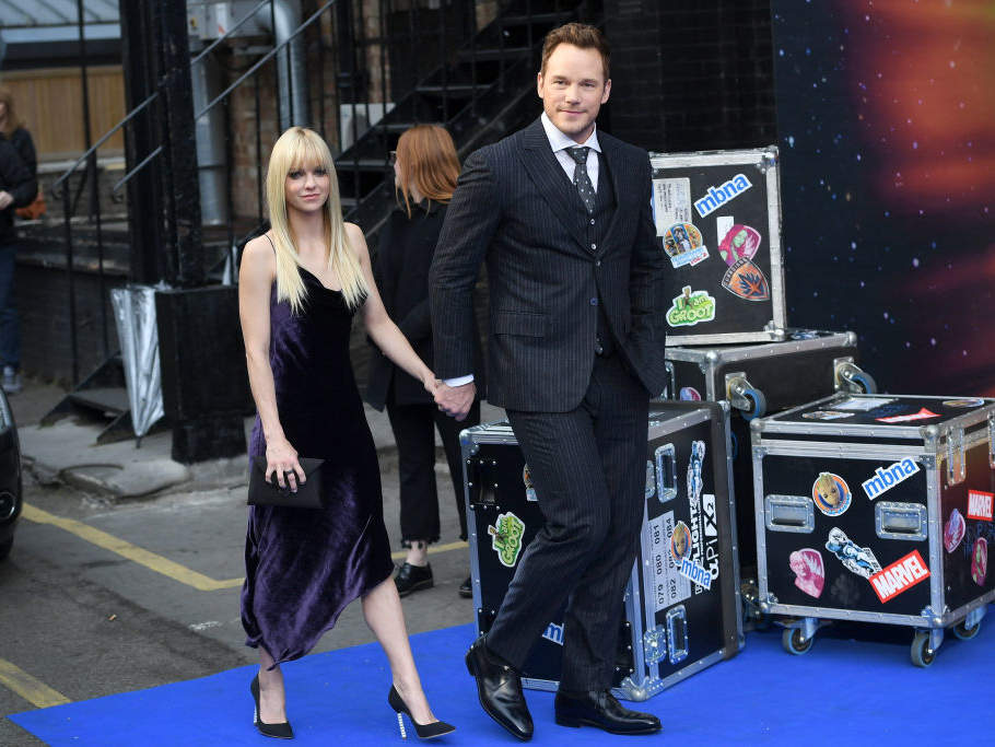 "LONDON, ENGLAND - APRIL 24: Actor Chris Pratt (R) and his wife actress Anna Faris attend the UK screening of ""Guardians of the Galaxy Vol. 2"" at Eventim Apollo on April 24, 2017 in London, United Kingdom"