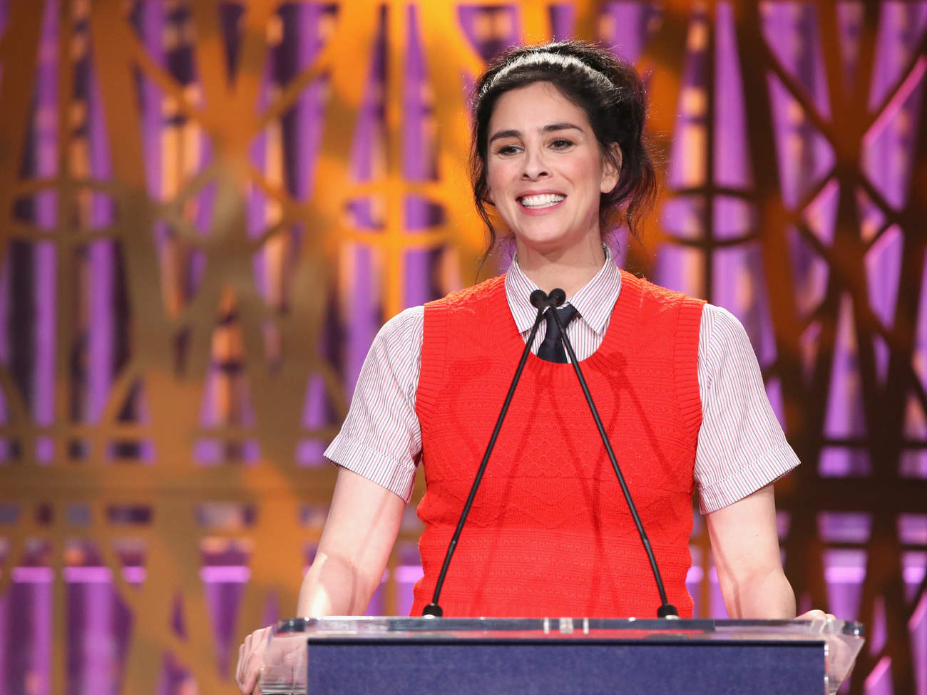 Photo of Sarah Silverman Speaking at the Hollywood Reporter's 2017 Women In Entertainment Breakfast