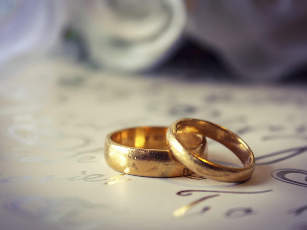 Close up of gold wedding bands.