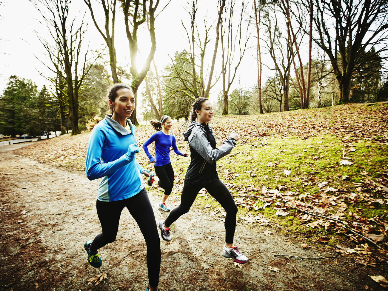 friendship running exercise outside fall healthy thanksgiving jacket group