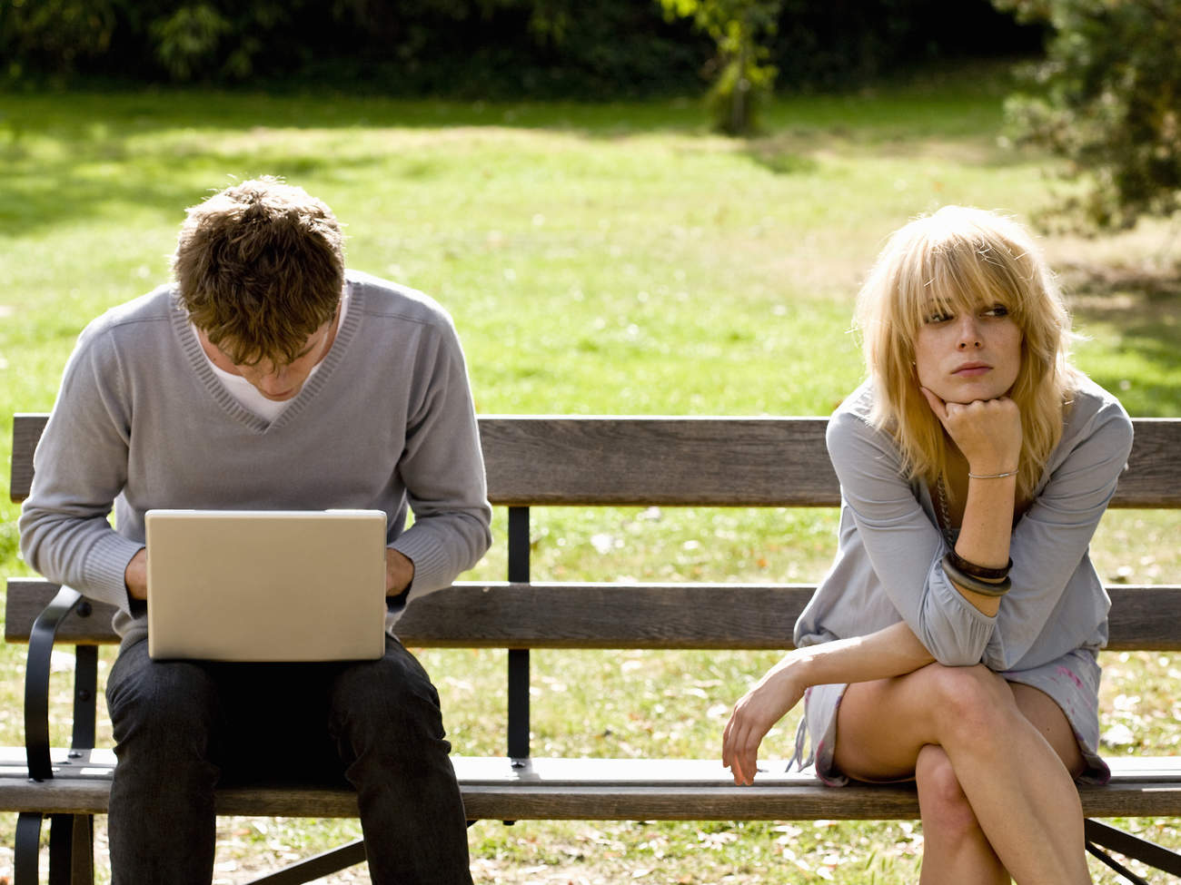 unhappy couple relationship issue problem work stress technology