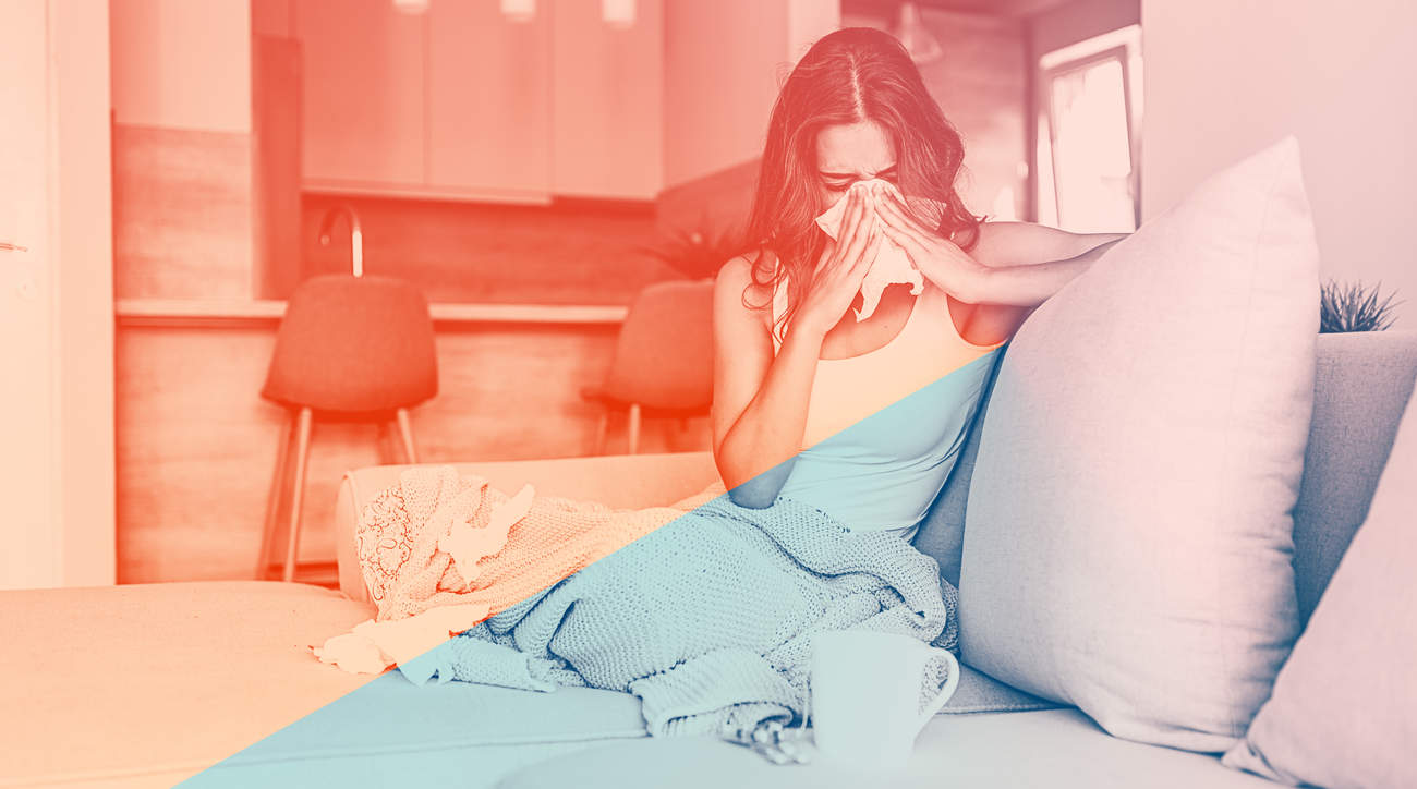 flu cold virus summer august heat woman health wellbeing runny-nose sneeze fever