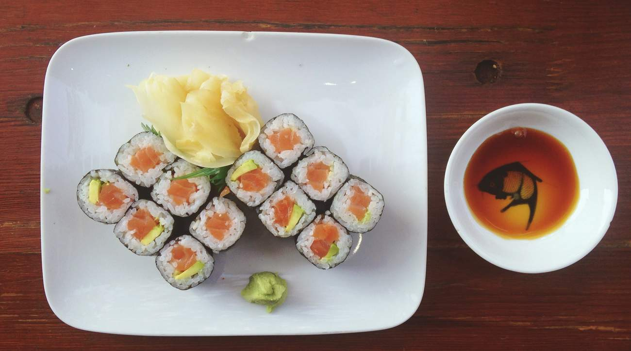 soy sauce with sushi