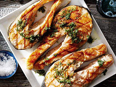salmon steaks with horseradish vinaigrette