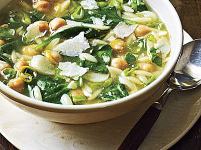 Spinach, Orzo, and Chickpea Soup