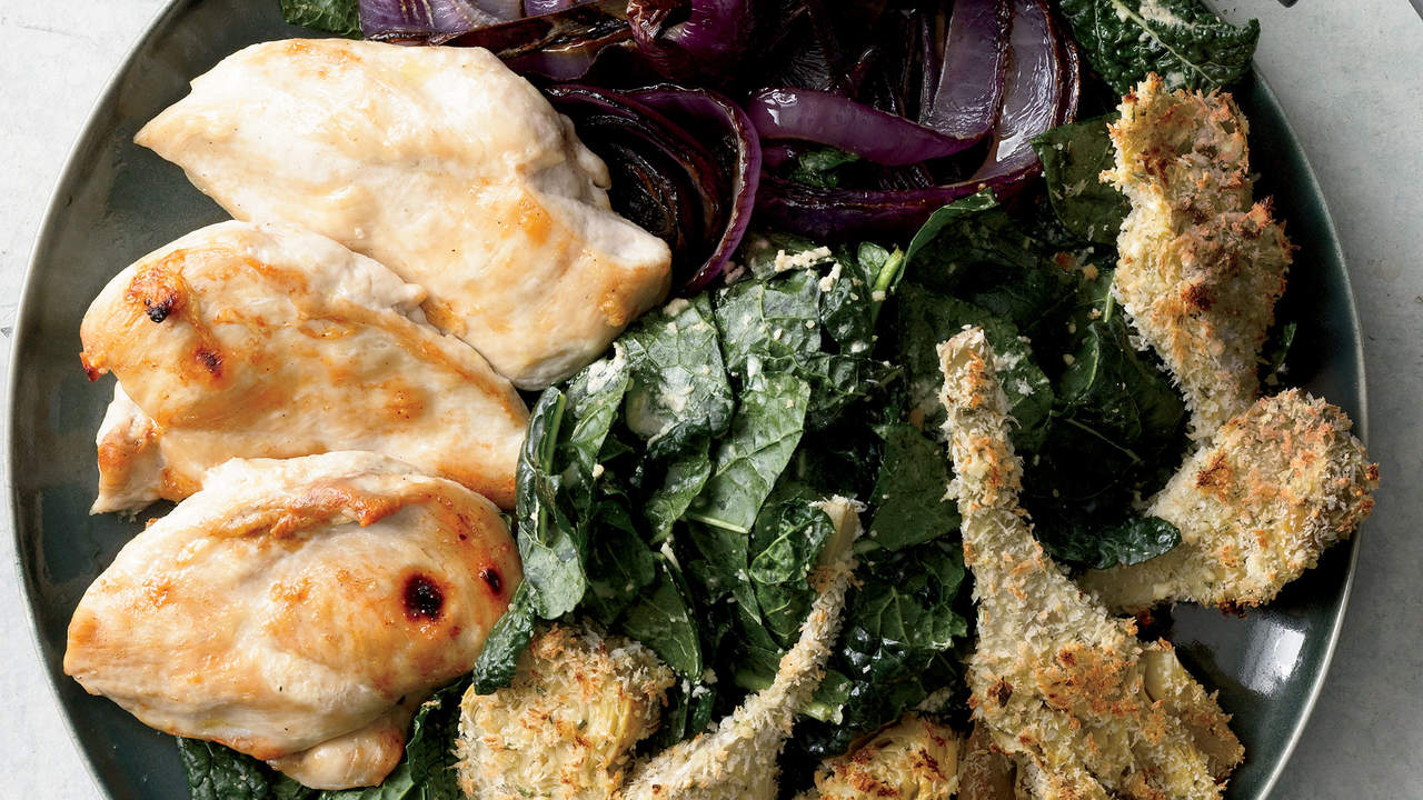 Chicken Kale Caesar With Crispy Artichokes