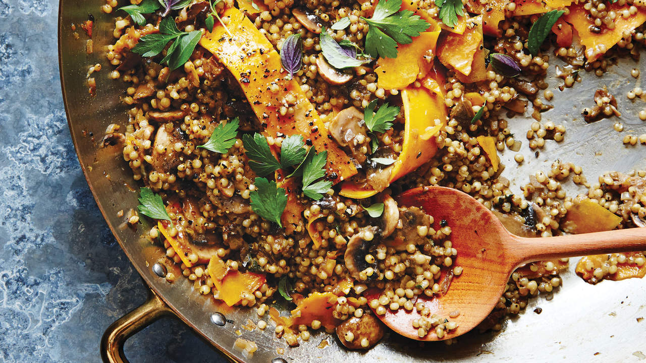 cheesy-sorghum-shaved-squash-pilaf-ancient-grains-recipe-roundup