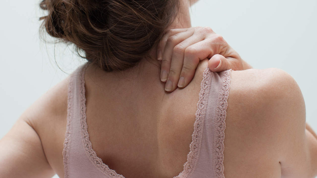 Neck back and shoulder pain from large breasts