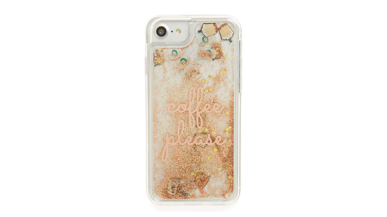 coffee please glitter liquid iphone 7 case
