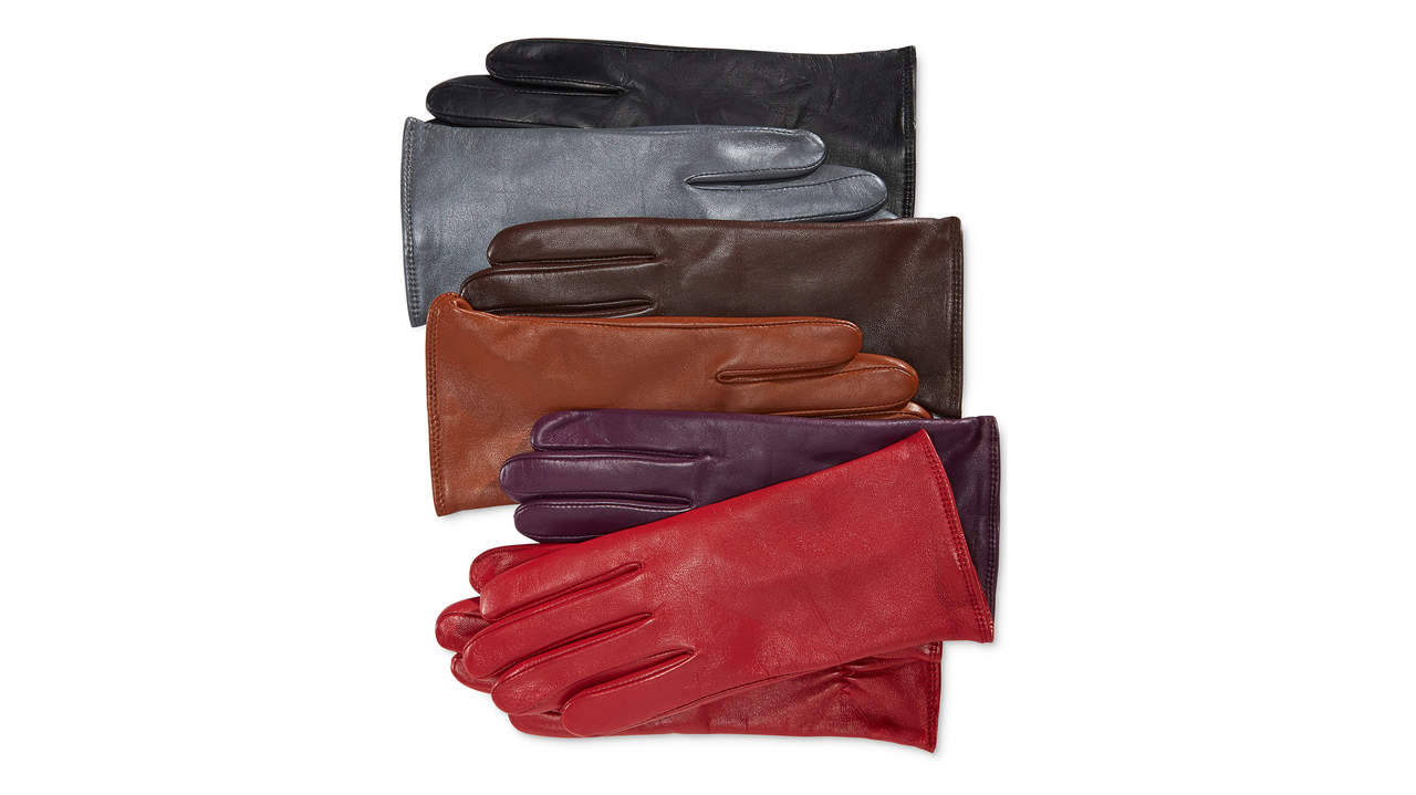 <p>Charter Club cashmere-lined leather tech gloves</p>