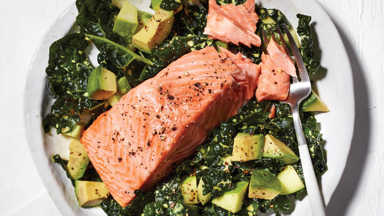 Kale Salad With Poached Salmon, Apple, and Avocado