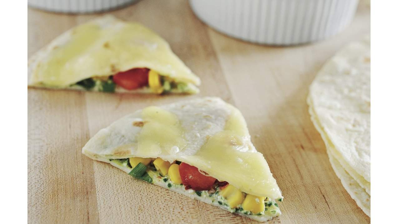 Low-FODMAP spinach and cheese quesadillas