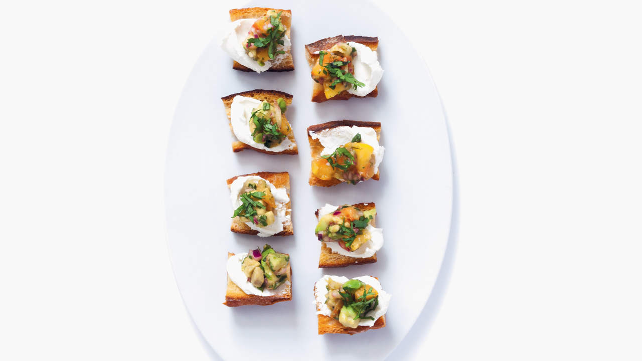 Peach Salsa With Cheese Crostini