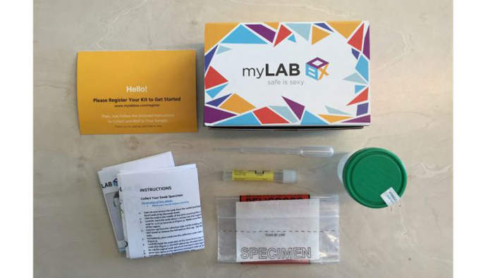 <p>An at-home STI testing kit</p>