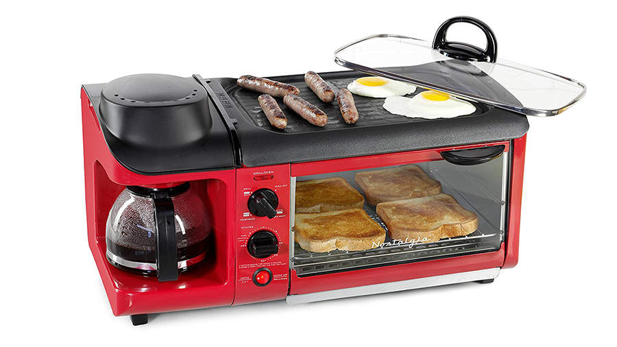 Amazon Appliances, red breakfast machine with coffee pot and toaster