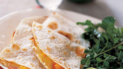 Canadian-Bacon-and-Cheese Quesadillas With Arugula Salad
