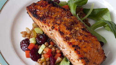 Night 1: Maple-Glazed Salmon With Warm Wheat Berry Salad