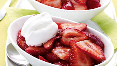 Merlot Strawberries With Whipped Cream
