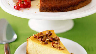 Pumpkin Cheesecake With Glazed Hazelnuts