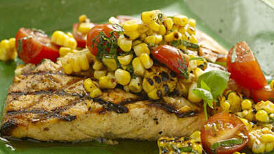 Grilled Salmon with Charred-Corn Relish