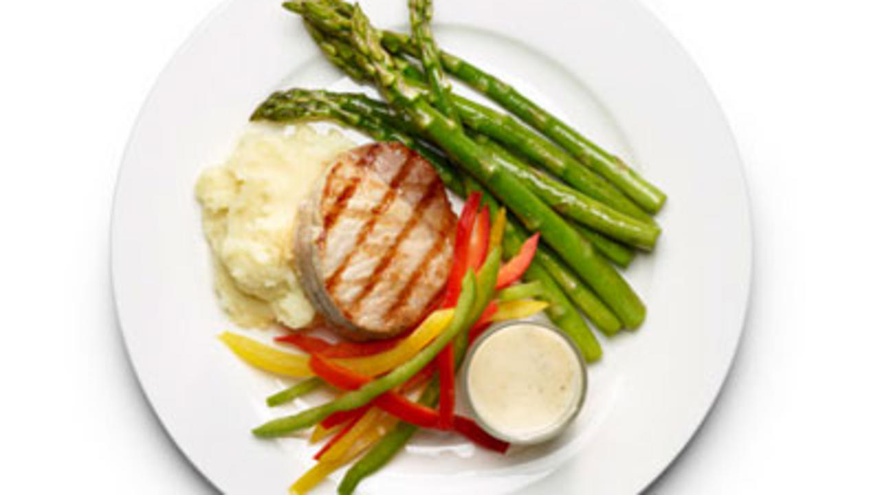 Grilled Pork Chop and Asparagus