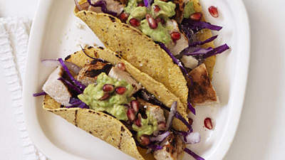Chicken Pomegranate Guac Tacos