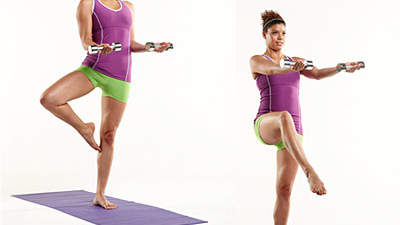 Upper body: Biceps with front balance