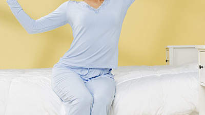 stretching-blue-pajamas