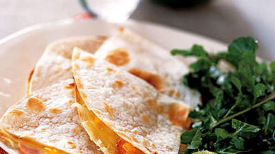 Canadian Bacon and Cheese Quesadillas With Arugula Salad