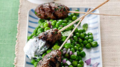 Grilled Bison Kebabs over Minted Peas