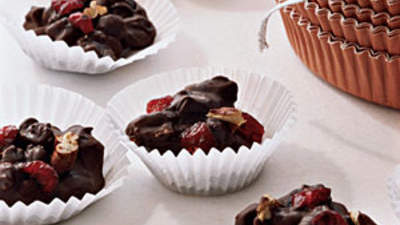 Chocolate, fruit, and nut clusters
