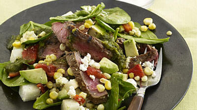 Adobo-Marinated Grass-fed Flank Steak with Spinach Salad