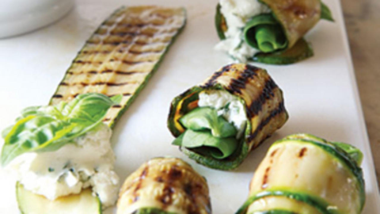 Grilled Zucchini RollUps With Herbs and Cheese