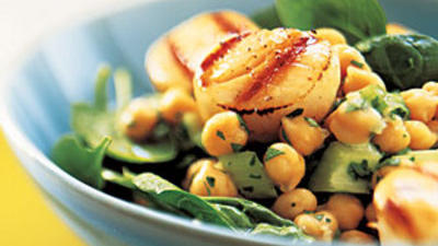 Grilled Scallops With Lemon Chickpea Salad