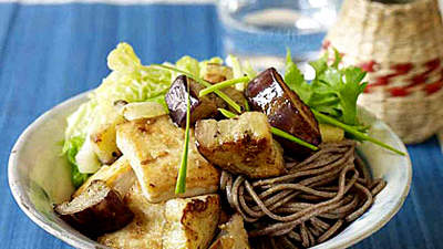 Miso-Marinated Tofu and Eggplant Over Soba Noodles