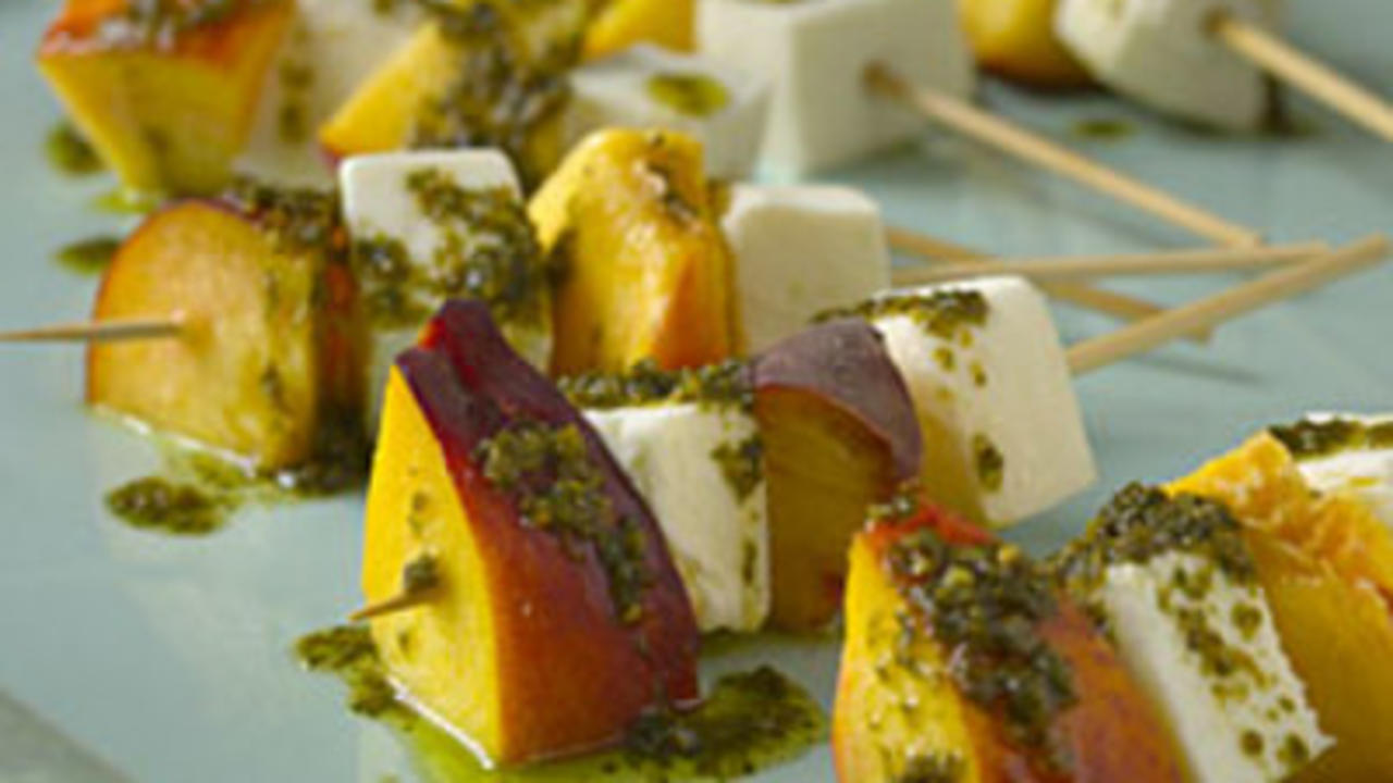 mozzarella-and-nectarine-skewers-with-pesto