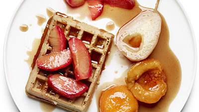 Poached Fruit Over Waffles