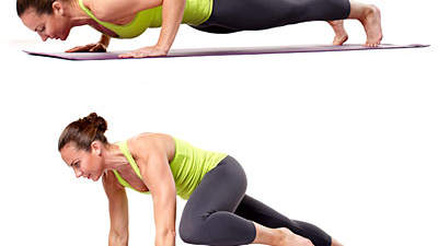 Upper body: Push-up alternating knee tap