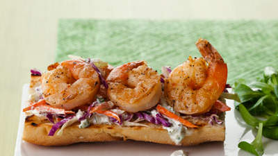 Shrimp Tartines with Slaw