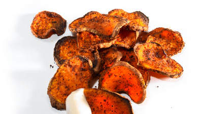 Crunchy: Oven Roasted Sweet Potato Chips With Ranch Dip