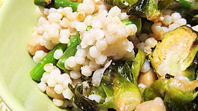 Israeli Couscous With Chickpeas, Brussels Sprouts, and Asparagus