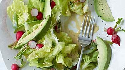 Butter Lettuce, Radish and Avocado Salad with Mustard Dressing