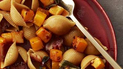Pasta with Bacon, Squash, and Sage