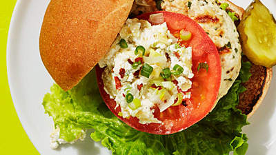 Turkey Burger with Artichoke-Goat Cheese Spread