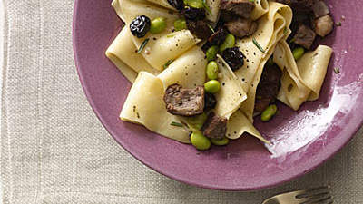 Noodles With Duck Breast, Edamame, and Dried Cherries