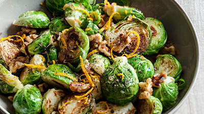 Sauteed Brussels Sprouts with Orange and Walnuts