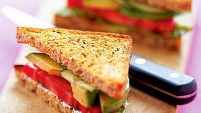 Avocado, Lettuce, and Tomato Sandwich