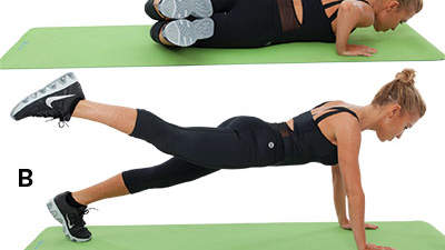 side sit and plank kick