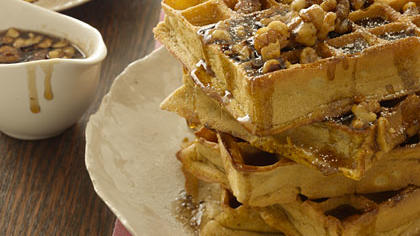 Pumpkin Waffles With Maple-Walnut Syrup Recipe - Health